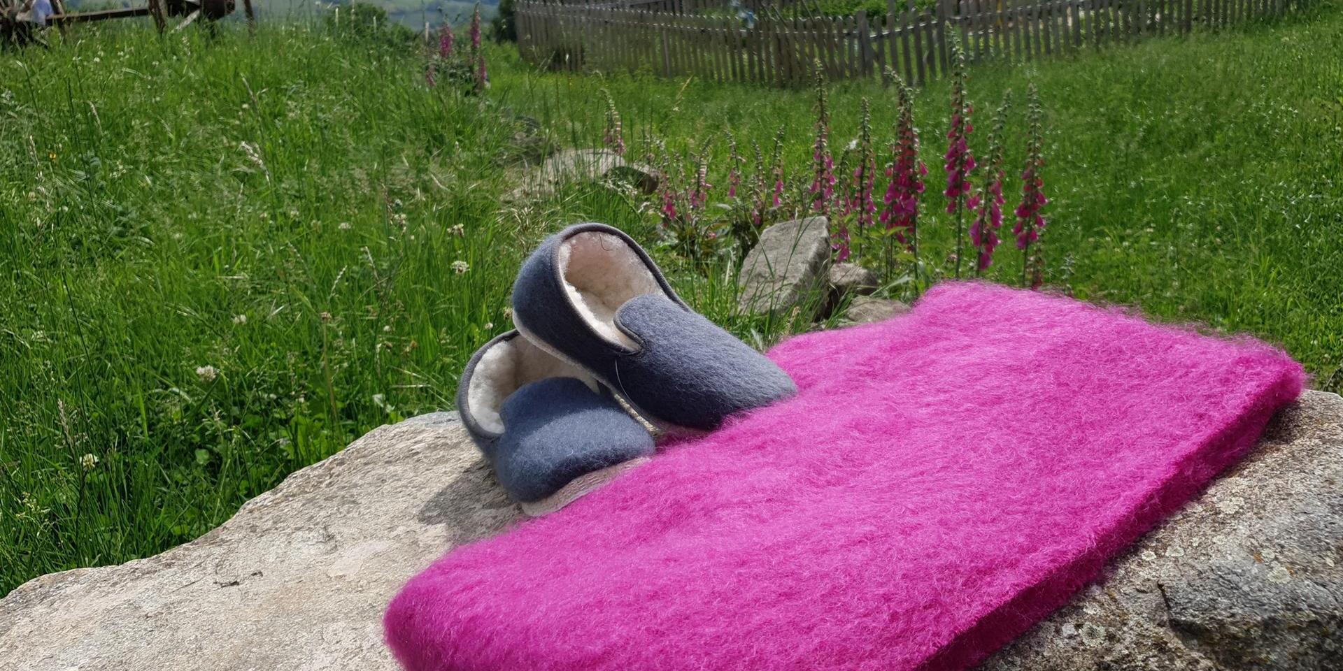 Étole et charentaises mohair de fabrication française