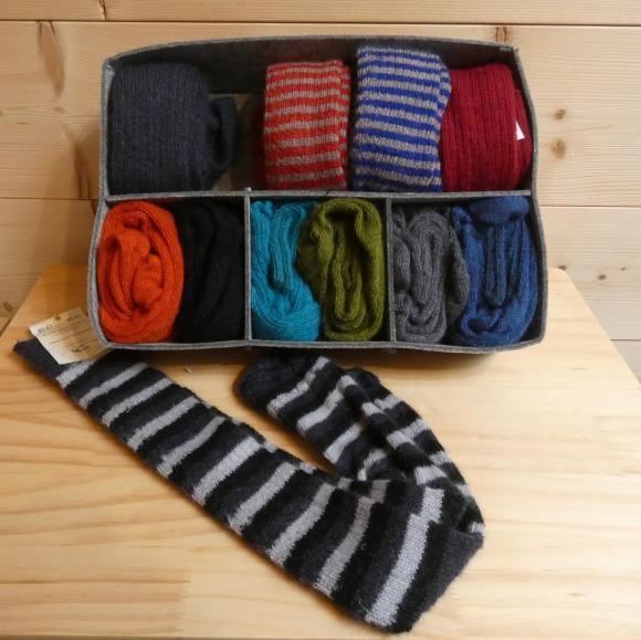 Chaussettes longues rayées noir / ardoise / perle