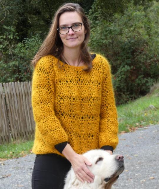 Pièce unique Pull Fleur Primadonna Fait Main Crochet